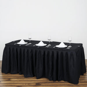 17FT Black Pleated Polyester Table Skirt