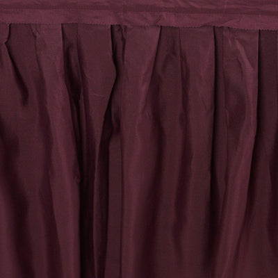 17FT BURGUNDY Wholesale Polyester Table Skirt For Wedding Banquet Restaurant