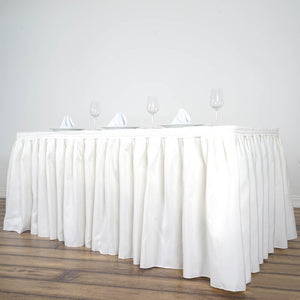 17FT Ivory Pleated Polyester Table Skirt