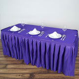 14FT PURPLE Wholesale Polyester Table Skirt For Wedding Banquet Restaurant