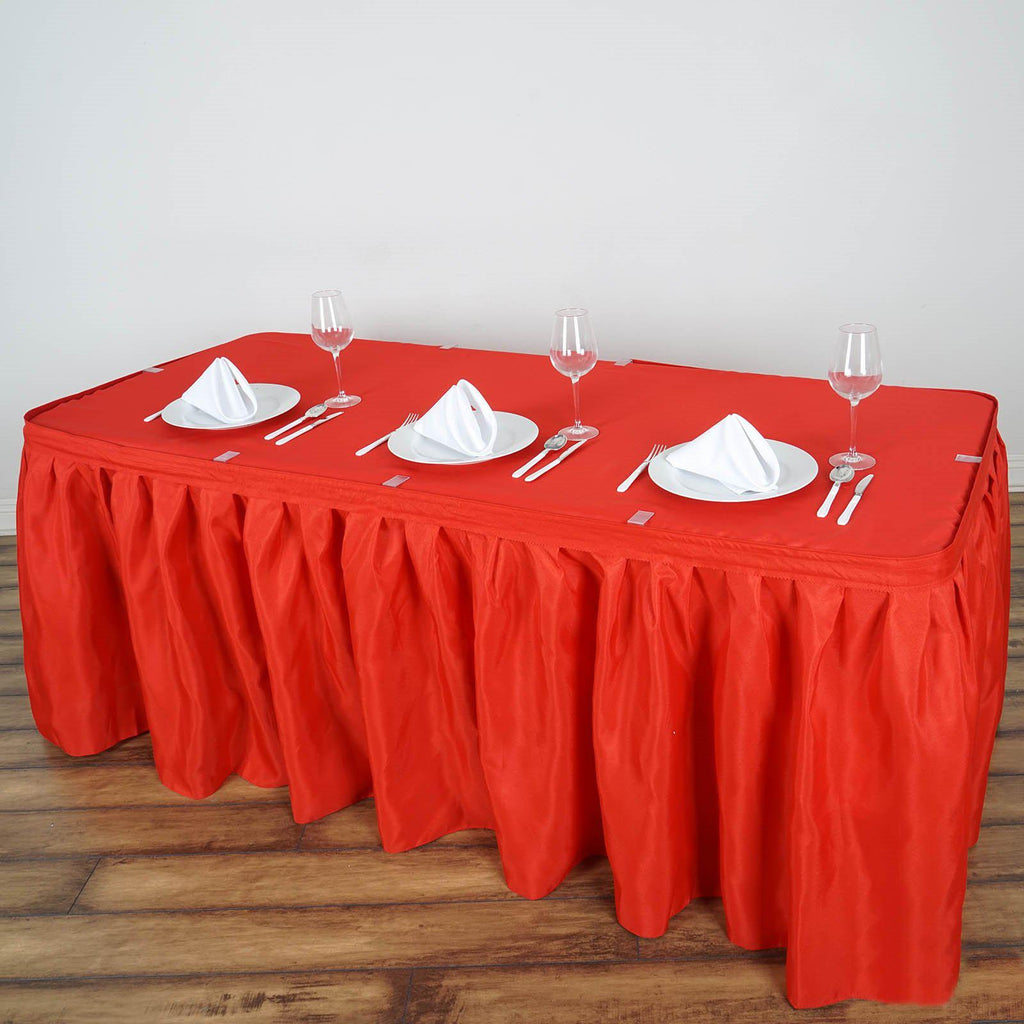 a619e74885 14FT Red Pleated Polyester Table Skirt | TableclothsFactory ...