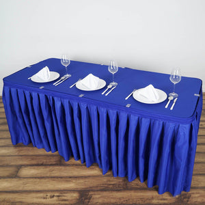 14FT Royal Blue Pleated Polyester Table Skirt
