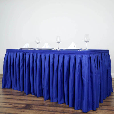17FT Royal Blue Pleated Polyester Table Skirt