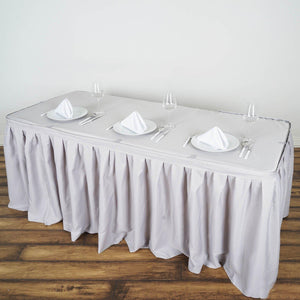 14FT Wholesale Silver Pleated Polyester Table Skirt For Wedding Party Event