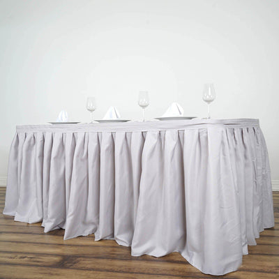17FT Wholesale Silver Pleated Polyester Table Skirt For Wedding Party Event