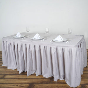 21FT Wholesale Silver Pleated Polyester Table Skirt For Wedding Party Event