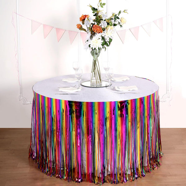 "29""x 9FT Fiesta Rainbow Metallic Foil Fringe Table Skirt, Self Adhesive Party Table Skirt"
