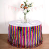 29inch x 9FT Rainbow Metallic Foil Fringe Table Skirt, Self Adhesive Party Table Skirt