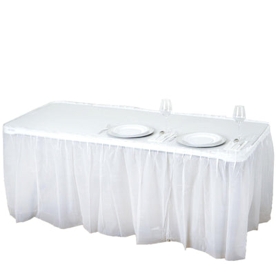 14Ft. White Pleated Spill Proof & Waterproof Wipe Clean Table Skirt
