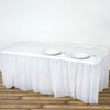 14FT White 10 Mil Thick | Pleated Plastic Table Skirts - Disposable Table Skirt Spill Proof
