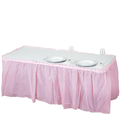 14Ft. Pink Pleated Spill Proof & Waterproof Wipe Clean Table Skirt