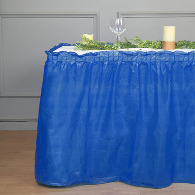 14FT Royal Blue 10 Mil Thick | Pleated Plastic Table Skirts - Disposable Table Skirt Spill Proof