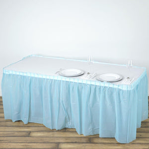 14FT Serenity Blue 10 Mil Thick | Pleated Plastic Table Skirts - Disposable Table Skirt Spill Proof