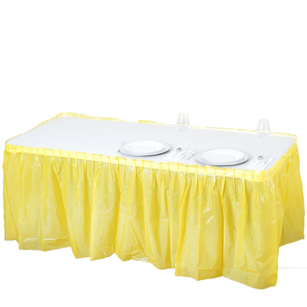 5c590e323 14Ft. Yellow Pleated Spill Proof & Waterproof Wipe Clean Table Skirt ...