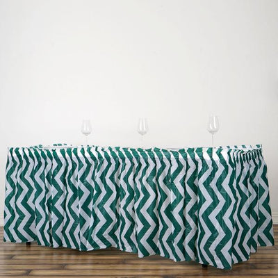 14Ft. Hunter Green Pleated Spill Proof & Waterproof Wipe Clean Chevron Table Skirt