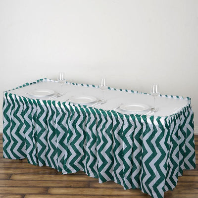 14FT Hunter Emerald Green 10 Mil Thick | Chevron Plastic Table Skirts - Disposable Table Skirt Spill Proof