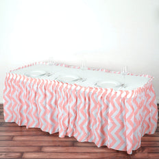 14FT 10 Mil Thick | Chevron Plastic Table Skirts - Disposable Table Skirt Spill Proof - Blush | Rose Gold