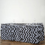 14FT Black 10 Mil Thick | Chevron Plastic Table Skirts - Disposable Table Skirt Spill Proof