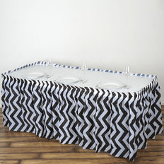 14Ft. Black Pleated Spill Proof & Waterproof Wipe Clean Chevron Table Skirt14FT Black 10 Mil Thick | Chevron Plastic Table Skirts - Disposable Table Skirt Spill Proof