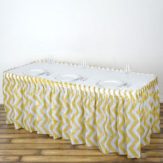14FT Champagne Disposable Waterproof Plastic Chevron Banquet Table Skirt14FT Champagne 10 Mil Thick | Chevron Plastic Table Skirts - Disposable Table Skirt Spill Proof