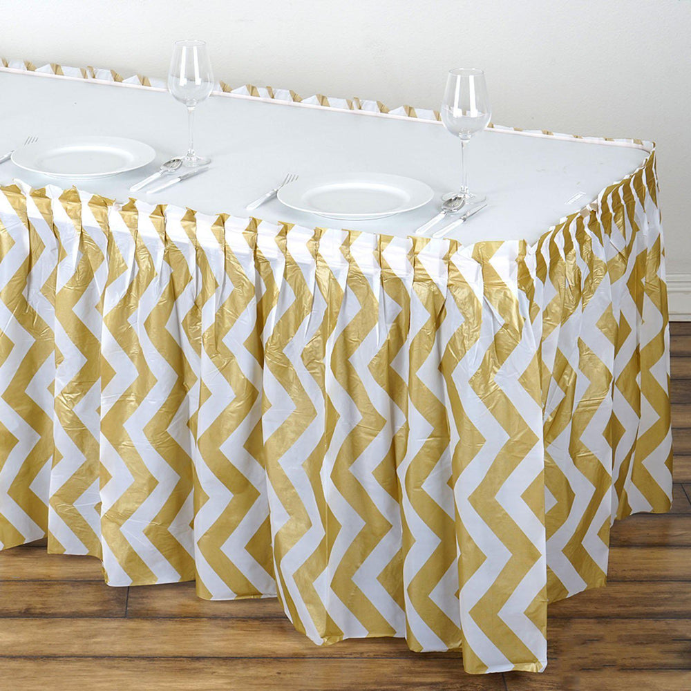 14Ft. Gold Pleated Spill Proof & Waterproof Wipe Clean Chevron Table ...