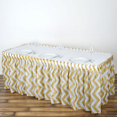 14Ft. Gold Pleated Spill Proof & Waterproof Wipe Clean Chevron Table Skirt14FT Gold 10 Mil Thick | Chevron Plastic Table Skirts - Disposable Table Skirt Spill Proof
