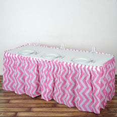 14FT Pink 10 Mil Thick | Chevron Plastic Table Skirts - Disposable Table Skirt Spill Proof