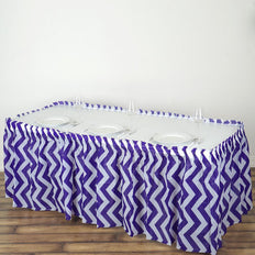 14FT Purple 10 Mil Thick | Chevron Plastic Table Skirts - Disposable Table Skirt Spill Proof