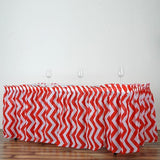 14Ft. Red Pleated Spill Proof & Waterproof Wipe Clean Chevron Table Skirt