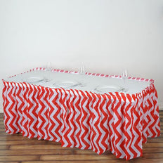 14FT Red 10 Mil Thick | Chevron Plastic Table Skirts - Disposable Table Skirt Spill Proof