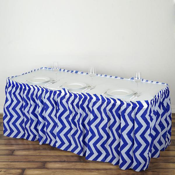 14FT Royal Blue 10 Mil Thick | Chevron Plastic Table Skirts - Disposable Table Skirt Spill Proof