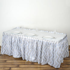 14FT Silver 10 Mil Thick | Chevron Plastic Table Skirts - Disposable Table Skirt Spill Proof