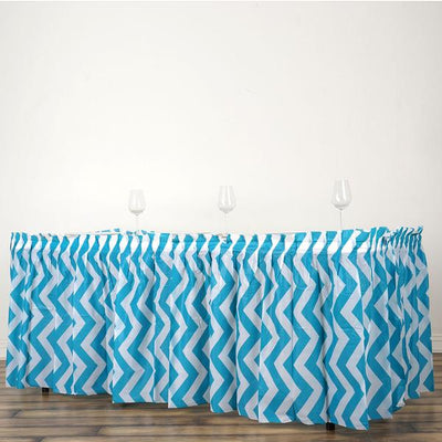 14FT Turquoise 10 Mil Thick | Chevron Plastic Table Skirts - Disposable Table Skirt Spill Proof