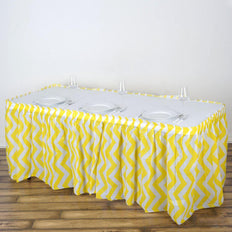 14FT Yellow 10 Mil Thick | Chevron Plastic Table Skirts - Disposable Table Skirt Spill Proof