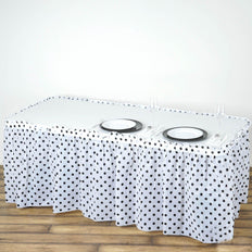 14FT 10 Mil Thick | Polka Dots Pleated Plastic Table Skirts - Disposable Table Skirt Spill Proof - White/Black