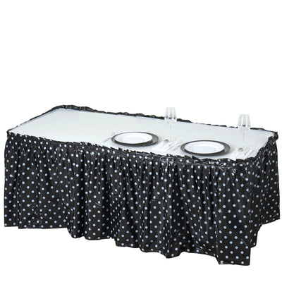 14Ft. Pleated Spill Proof & Waterproof Wipe Clean Polka Dots Table Skirt - Black/White