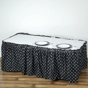 14FT 10 Mil Thick | Polka Dots Pleated Plastic Table Skirts - Disposable Table Skirt Spill Proof - Black/White