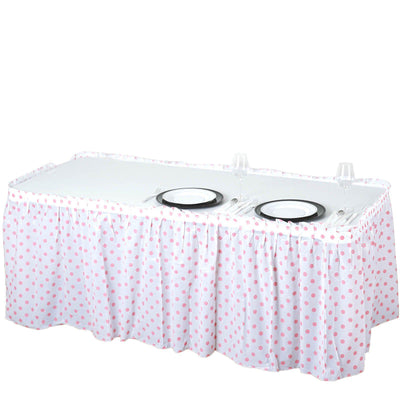 14FT 10 Mil Thick | Polka Dots Pleated Plastic Table Skirts - Disposable Table Skirt Spill Proof - White/Pink