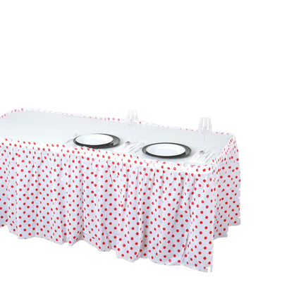 14Ft. Pleated Spill Proof & Waterproof Wipe Clean Polka Dots Table Skirt - White/Red