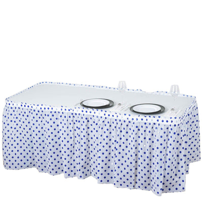 14FT 10 Mil Thick | Polka Dots Pleated Plastic Table Skirts - Disposable Table Skirt Spill Proof - White/Royal Blue