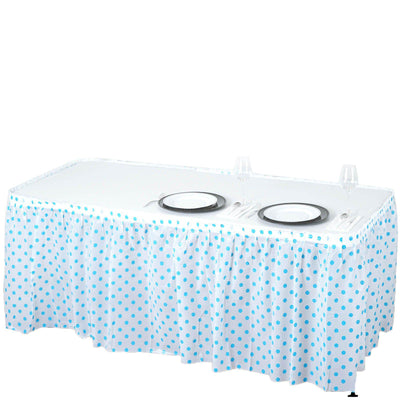 14Ft. Pleated Spill Proof & Waterproof Wipe Clean Polka Dots Table Skirt - White/Serenity Blue