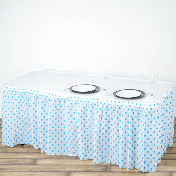14FT 10 Mil Thick | Polka Dots Pleated Plastic Table Skirts - Disposable Table Skirt Spill Proof - White/Serenity Blue