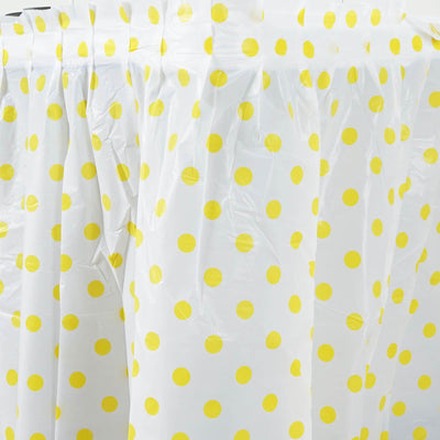 14Ft. Pleated Spill Proof & Waterproof Wipe Clean Polka Dots Table Skirt - Black/Yellow