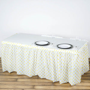 14FT 10 Mil Thick | Polka Dots Pleated Plastic Table Skirts - Disposable Table Skirt Spill Proof - White/Yellow
