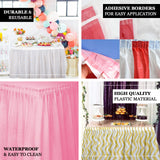 14FT 10 Mil Thick | Stripe Plastic Table Skirts - Disposable Table Skirt Spill Proof - White/Blush