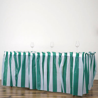14FT 10 Mil Thick | Stripe Plastic Table Skirts - Disposable Table Skirt Spill Proof - White/Hunter Emerald Green