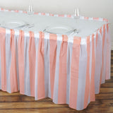 14FT 10 Mil Thick | Stripe Plastic Table Skirts - Disposable Table Skirt Spill Proof - White/Blush#whtbkgd