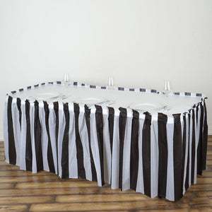14FT 10 Mil Thick | Stripe Plastic Table Skirts - Disposable Table Skirt Spill Proof - White/Black