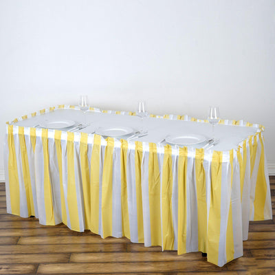14Ft. Pleated Spill Proof & Waterproof Wipe Clean Stripe Table Skirt - White/Champagne