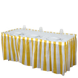 14FT 10 Mil Thick | Stripe Plastic Table Skirts - Disposable Table Skirt Spill Proof - White/Gold